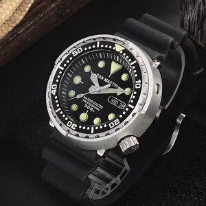 Image 3 - San Martin Tuna SBBN015 Diver Automatic Men Watch Stainless Steel Fluoro Rubber Calendar Week Display Ceramic Bezel Sunray Dial