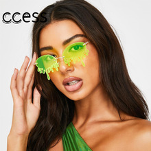 Fashion Rimless Sunglasses Women New Vintage Unique Tears Sh