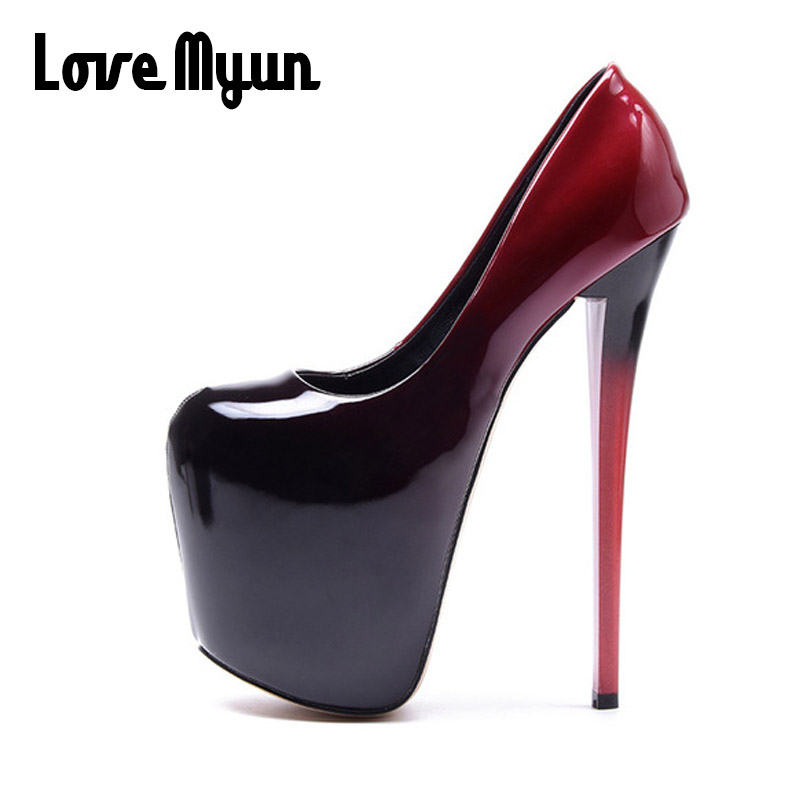 big size 50 Platform Pumps <font><b>Sexy</b></font> Ultra super High Heels 19cm Patent Leather <font><b>Sexy</b></font> <font><b>Shoes</b></font> <font><b>Women's</b></font> Party Pumps Wedding <font><b>Shoes</b></font> NN-94 image