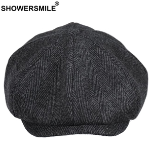 SHOWERSMILE ブランドウールキャスケットキャップ男性グレーヘリンボーンフラットキャップ女性コーヒー英国ギャツビーキャップ秋冬のウールの帽子
