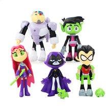 7 pçs/lote pvc modelo brinquedo teening titãs ir figuras de ação brinquedos robin raven besta menino cyborg pvc modelo brinquedos para crianças presentes de aniversário