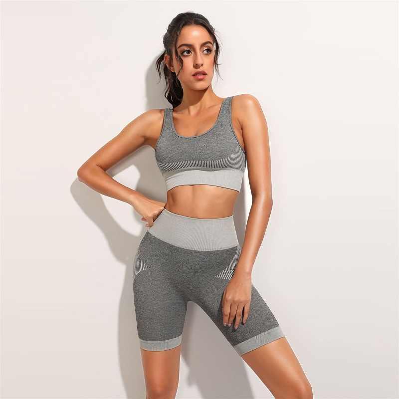 2020女性スポーツセットパッチワークジム服ノースリーブシームレスレギンスセットフィットネスヨガセットブラトップタイトなパンツスポーツスーツ