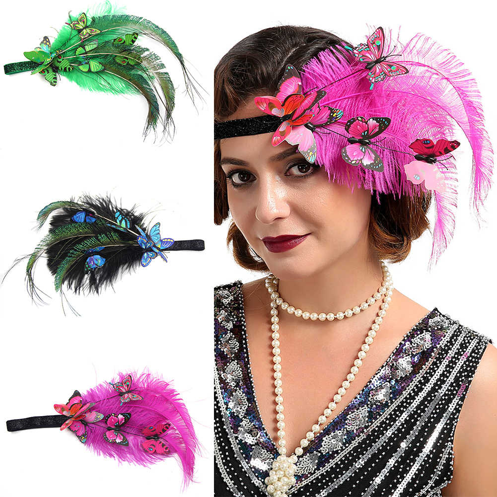 Gatsby Women Headband 1920s Flapper Feather Headpiece Elastic Decorative One Size Fancy Vintage Hair Accessories Adult Gift