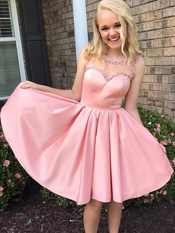 2020   Cocktail     Dress   A-Line/Princess Ruffles Bateau Satin Sleeveless Knee-Length   Dresses   for Party