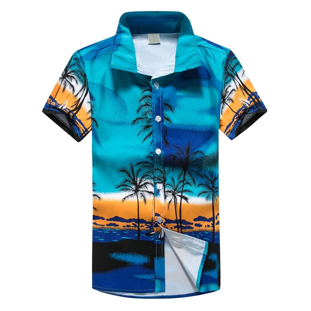 Floral Printed Men Short Sleeve Casual Men's Shirts Summer Autumn Spring Male Dress Shirts Man Plus Size Top Men Clothes  Feb7