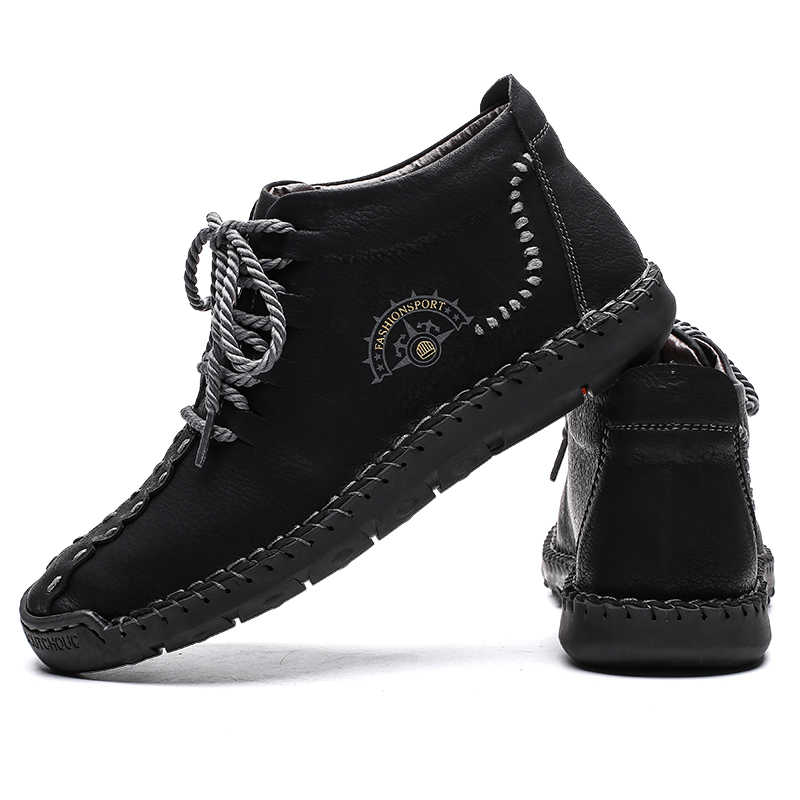 מכירה לוהטת גברים מגפי חורף חם עור באיכות גבוהה שלג מגפי נעליים עם פרווה קטיפה גברים של לנשימה קרסול הנעלה גדול גודל 48