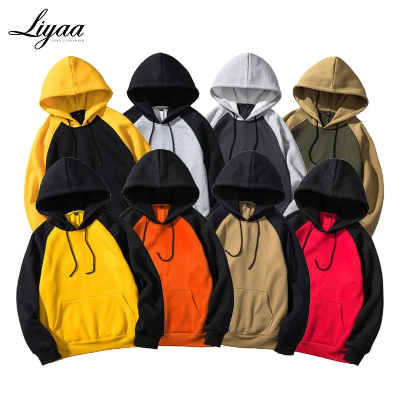 Liyaa Brand Streetwear Patchwork Hoodie Men Hip Hop Hooded Solid Slim Fit Casual Hoody Mens Hoodies Sweatshirts EU Size