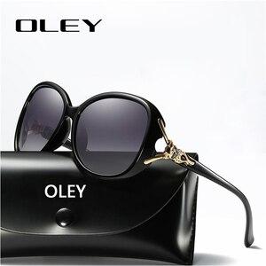 Женские солнцезащитные очки OLEY, брендовые дизайнерские поляризационные очки в стиле ретро с большой оправой и стразами, 2019