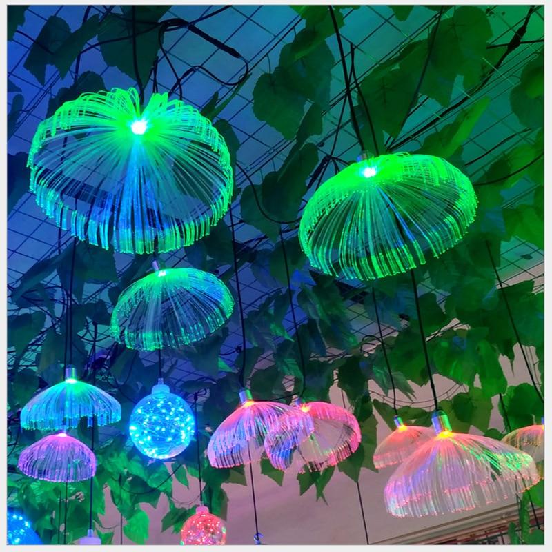 Festoon LED Jellyfish Chandelier Fiber Optic Colorful Hanging Lights Restaurant Decor Wedding Party Home garden Outdoor