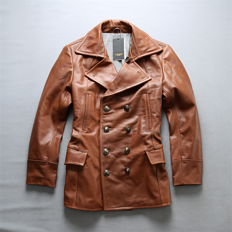 brand cow leather autumn winter jacket men's classic thick cowhide leather windbreak coat male vintage double breasted jacket