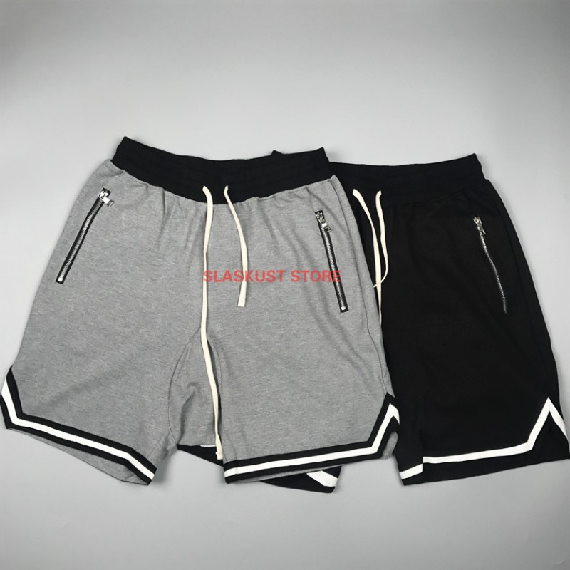Summer Justin Bieber Tape Striped Jogger Shorts Side Slits Zipped Track Short Streetwear