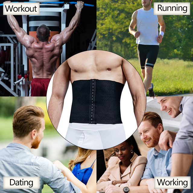 VASLANDA Men Waist Girdle Corsets Lumbar Trainer Body Shaper Fitness Sauna Sweat Belt Shapewear Fat Burning Slimming Underwear 5