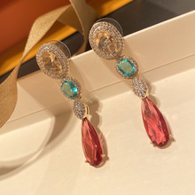 fashion long red cz drop earring for women