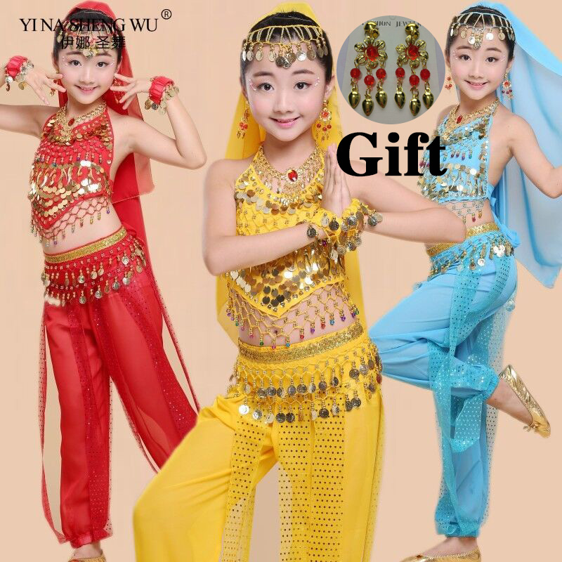 Kids Belly Dance Costumes Set Oriental Dance Costumes Girls Egypt Egyptian Bollywood Indian Belly Dancing Clothing India 6Color
