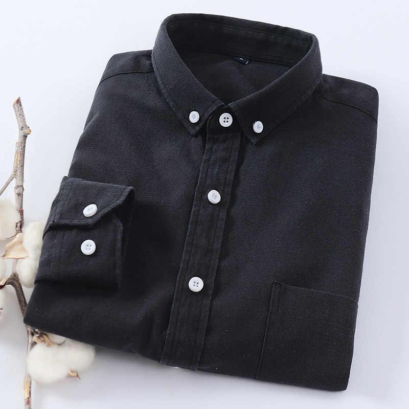 男性の長袖ブルーオックスフォードドレスシャツと左胸ポケット綿男性カジュアル固体ボタンダウンシャツ 5XL 6XL ビッグサイズ