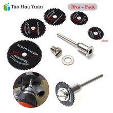 Mini serra diamante prateada, discos de corte preto, 7 peças, haste para broca, ferramenta rotativa conjunto de acessórios ferramenta a