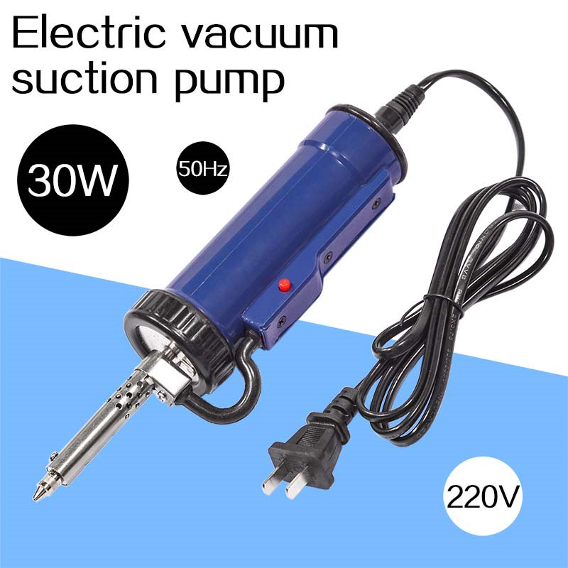 Solder Sucker 30W 220V 50Hz Electric Vacuum Desoldering Pump Iron Gun Soldering Black Blue Repair Tool With Nozzle And Drill Rod