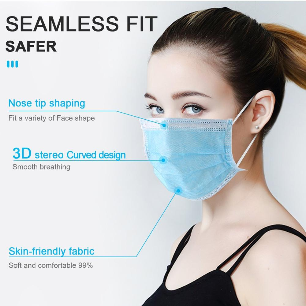 Disposable Breathable Masks Dust And Fog Protection Masks Anti PM2.5 Face Mouth Masks Comfortable Face Masks Blue 10/50pcs