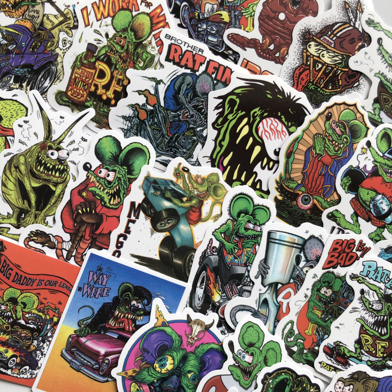 50pcs Rat Fink Mouse Stickers For Mobile Phone Laptop Luggage Guitar Case Skateboard Bike Car Stickers