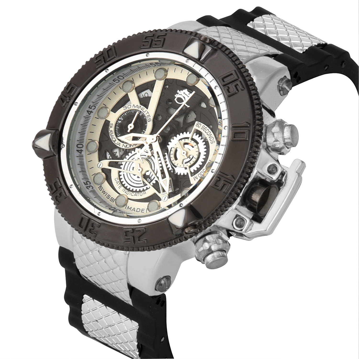 Brazil style High quality Big dial rotatable dial Run seconds to time multiple time zones multifunction man Quartz watch