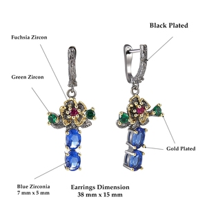 Image 3 - DreamCarnival 1989 New Arrived Flower Style Drop Earrings ring set  Blue Zirconia Anniversary Party Chic Jewelry Hot ER3877S2