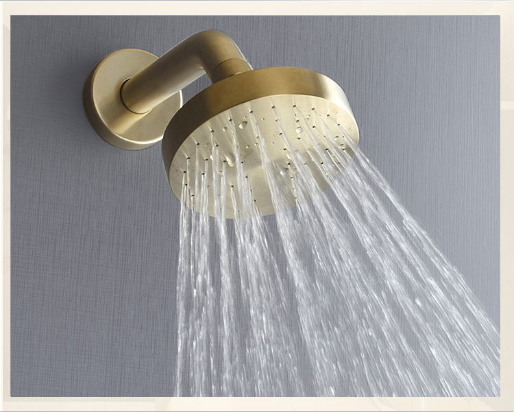 Hbbd6a185edf34c86a4cb6a1fb00206cdQ Brushed Gold Bathroom Fixture Waterfall Restroom Bath Shower Faucets Set Wall Mounted Brass Rain Shower Faucet Mixer Set