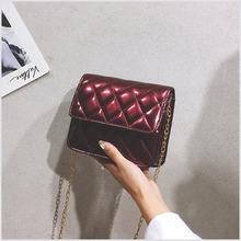 PU Leather Solid Color Plaid Chain Crossbody Bag Fashion Wild Small Fragrance Shoulder 2019 Autumn New Female