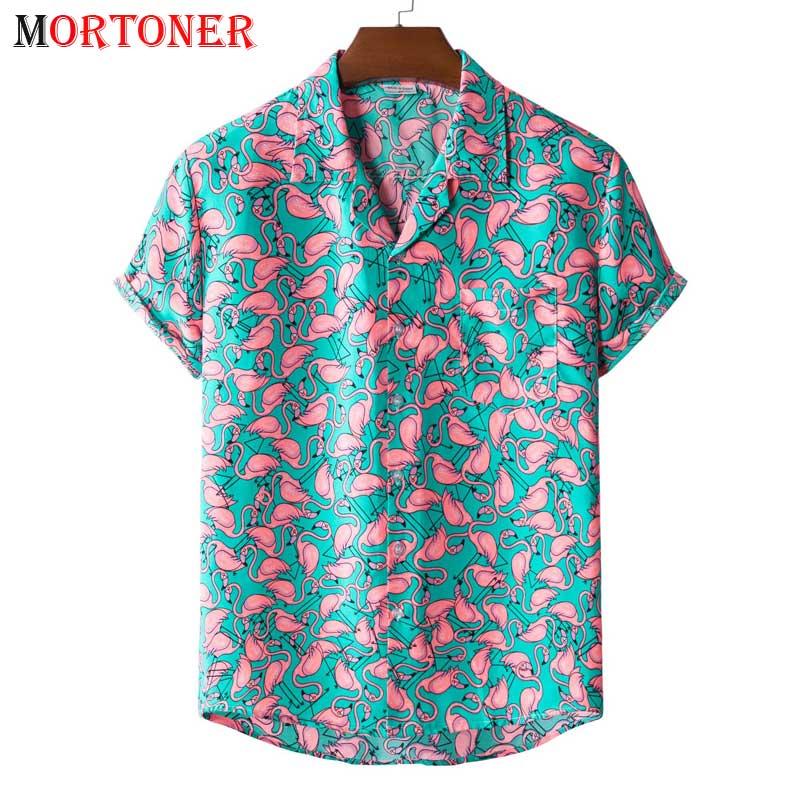 Stylish Flamingo Print Hawaiian Aloha Shirt Men 2021 Summer New Short Sleeve Beach Shirts Mens Holiday Party Vacation Clothing