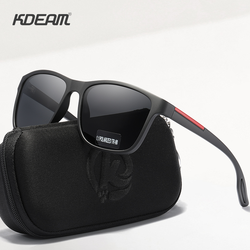 KDEAM Flexibility TR90 Men's Polarized Sunglasses Simplistic Design Sun Glasses with Polarising Ultra Sight Lenses