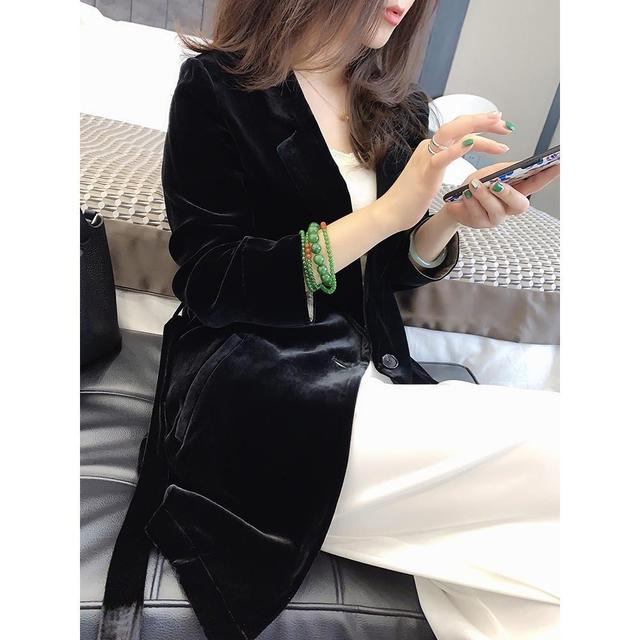 Peonfly New 2020 Autumn Women's Velvet Blazers Jacket with Sashes Female Notched Outerwear Office Ladies Coat Loose Black Blazer 4