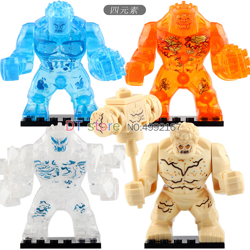 Building Blocks Big Size the Elementals Crocodile Hulk Iron Man Spider Man Super Hero Models Children Toys <font><b>XH1255</b></font>-XH1258 image