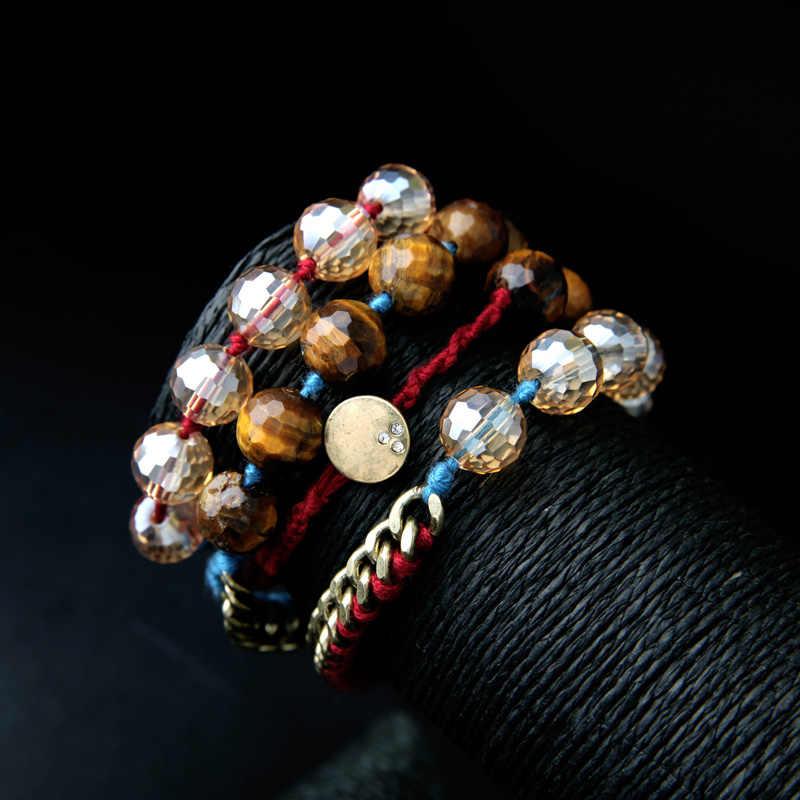 BALANBIU, pulseras Vintage de estilo bohemio para mujer, Brazalete de eslabones de aleación, joyería de moda al por mayor, gran descuento, venta de liquidación