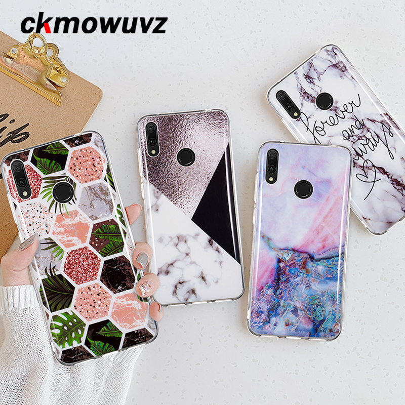 Soft TPU Silicone Case For <font><b>Huawei</b></font> Y6 2019 Y9 Y5 Y3 <font><b>Y7</b></font> Prime 2018 Y6 Pro <font><b>2017</b></font> Back Cover on Art Marble Leaf Phone Coque <font><b>Fundas</b></font> image