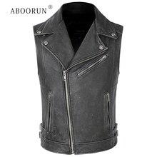 2020 Men's Black Cow Leather Vest Genuine Leather Motorcycle Vest Oblique Zippers Biker Sleeveless Jackets for Male