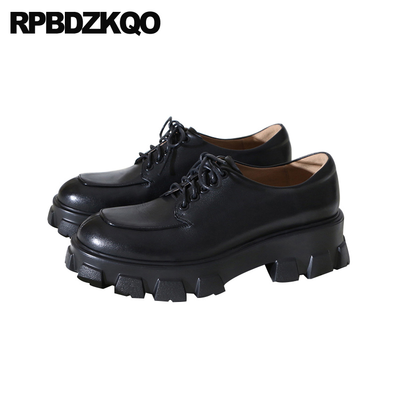 women flats genuine leather muffin black lace up creepers platform shoes shallow patent elevator italian designer thick sole