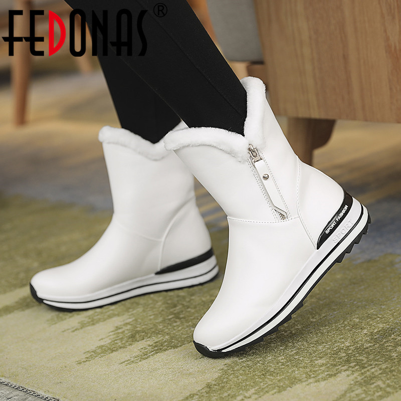 FEDONAS Newest Women Autumn Winter Snow Boots Wedges High Heels Bowtie Party Shoes Woman Cute Platforms High Mid-calf Boots