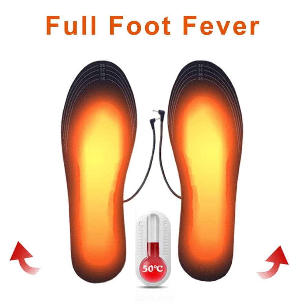 1 Pair USB Heated Shoe Insoles Foot Warming Pad Feet Warmer Sock Pad Mat Winter Outdoor Sports Heating Insoles Winter Warm Soles