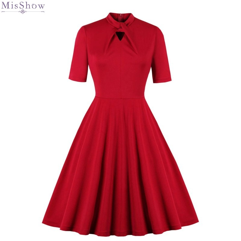 Red Short Sleeve Cocktail Dresses Knee Length A Line Formal Party Gown 2020 Elegant Scoop Neck Robe Coctail