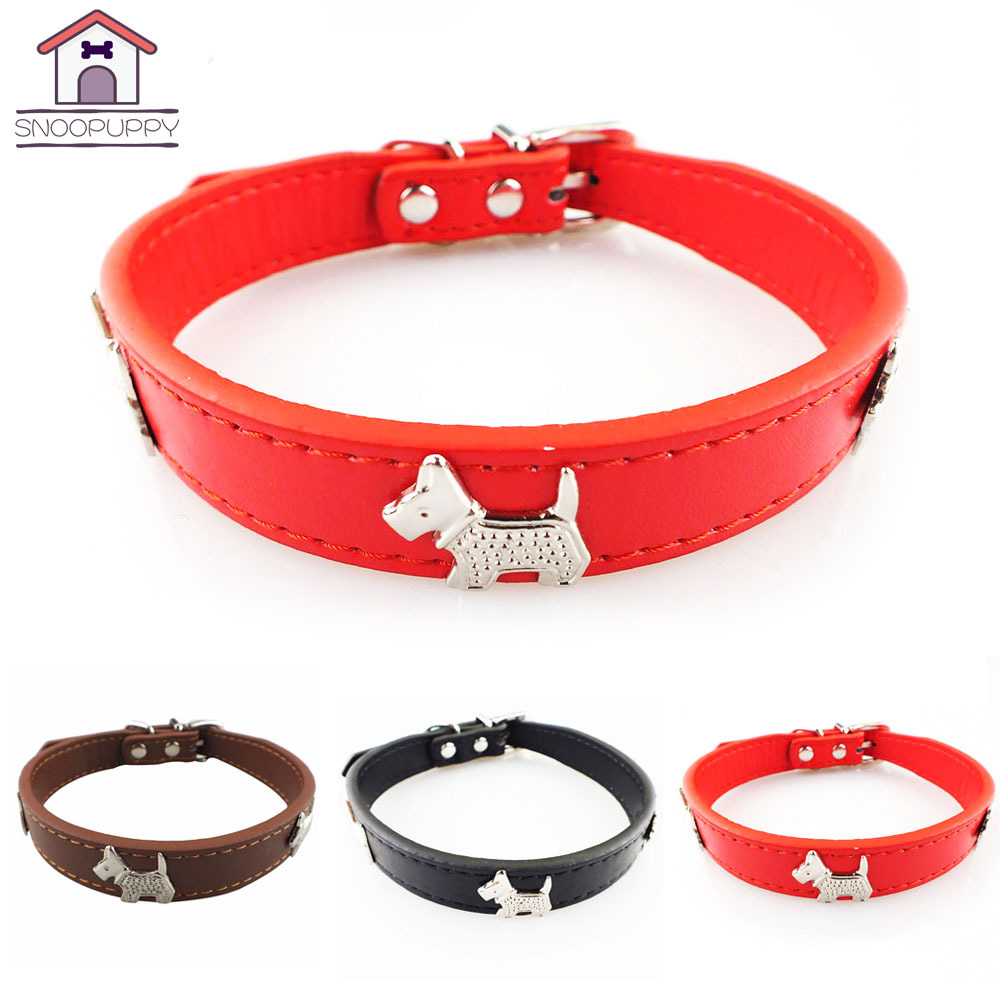 Small And Medium-sized Dogs Metal Xiao Hua Gou Pattern Neck Ring Pet Supplies PU Leather Scarf Pet Supplies