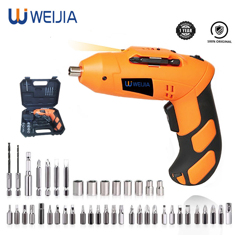 4.8V MINI Electric Screwdriver With Chargeable Lithium  Battery Cordless Drill DIY Power tools LED working light with 43 Bits