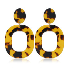 Modyle 2020 New Fashion Luxury Leopard Big Acrylic Geometric Circle Round Drop Earrings for Women
