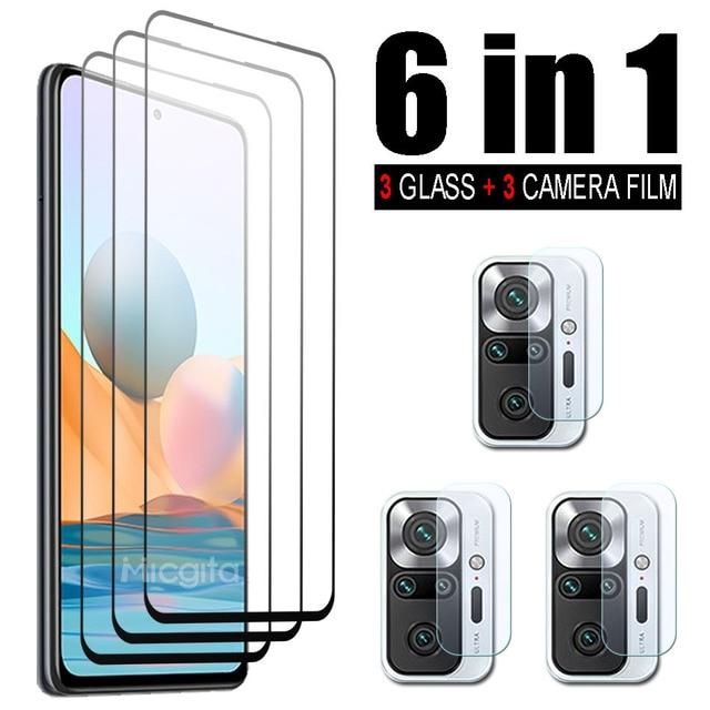 6 in 1 Tempered Glass For Xiaomi Redmi Note 10 Pro Note 10S 10 5G Screen Protector Camera Lens Film For Redmi Note 10 Pro Glass 1