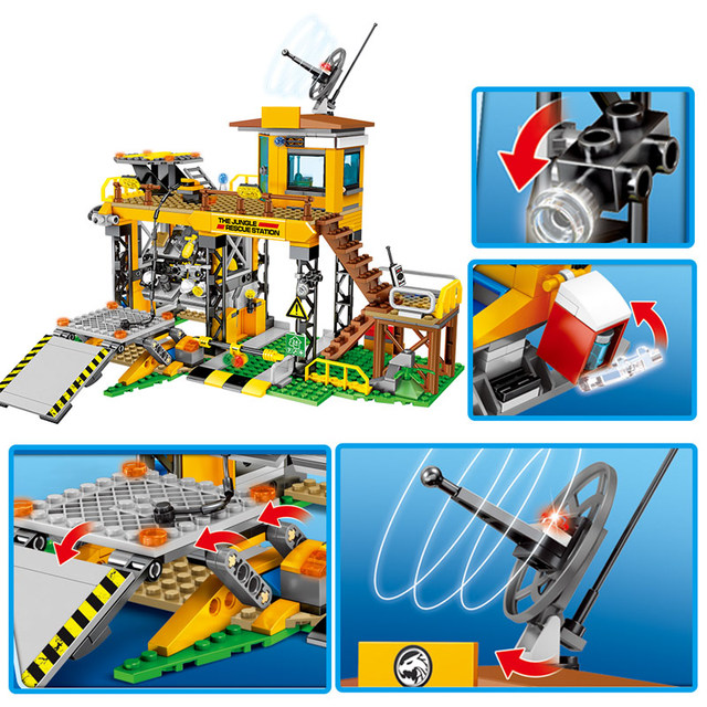 SEMBO City Police Jungle Truck Car Model Building Blocks Military Rescue Station Helicopter Figures Bricks Children Toys