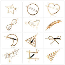 Barrette Hairpin Hair-Accessories Geometric Star Round Metal Heart Moon Girls Women Styling-Tools