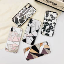 For iPhone 7 Case Marble Phone Case For iPhone X XS Max 8 6 6s 7 Plus XR Luxury Glitter Back Cover Soft TPU Geometric Gold Coque цена и фото