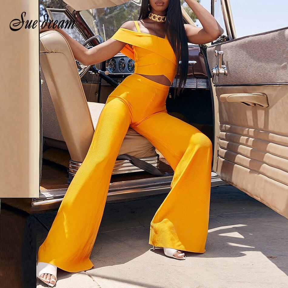 2019 Autumn New Women's Orange Set Tops Wide Leg Pants Set 2 Pieces Two Piece Set Tops + Pants Club Party Bodycon Bandage Set