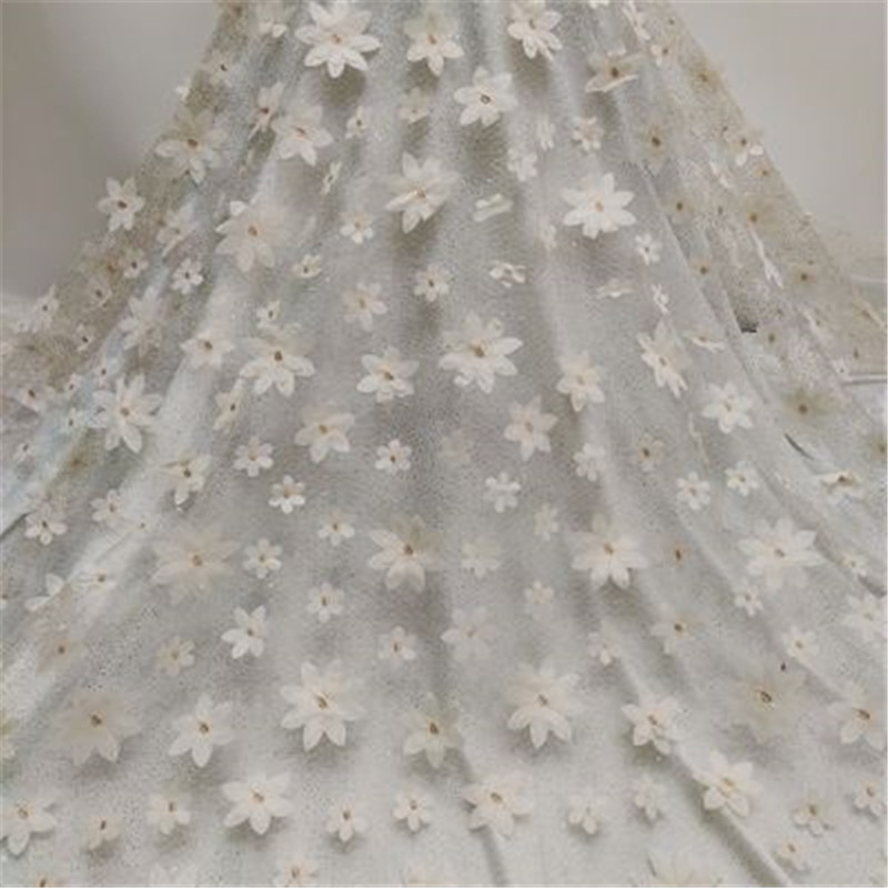 Mesh sprinkling gold laser embroidery double-layer three-dimensional flower clothing accessories dress lace fabric