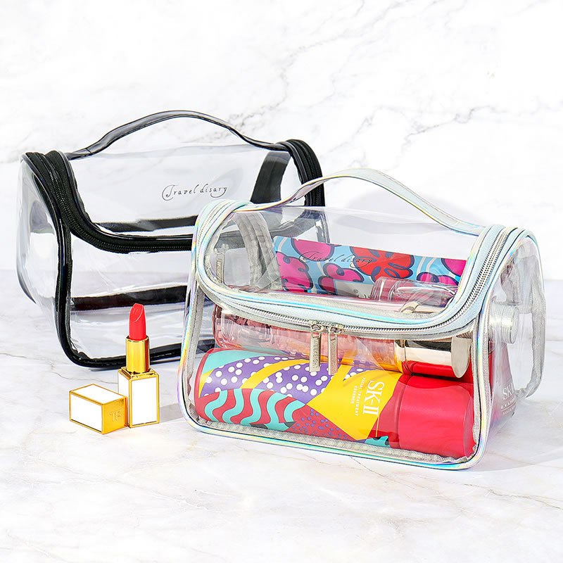 Travel Transparent Cosmetic Bag PVC Women Zipper Clear Makeup Bags Beauty Case Make Up Organizer Storage Bath Toiletry Wash Bag