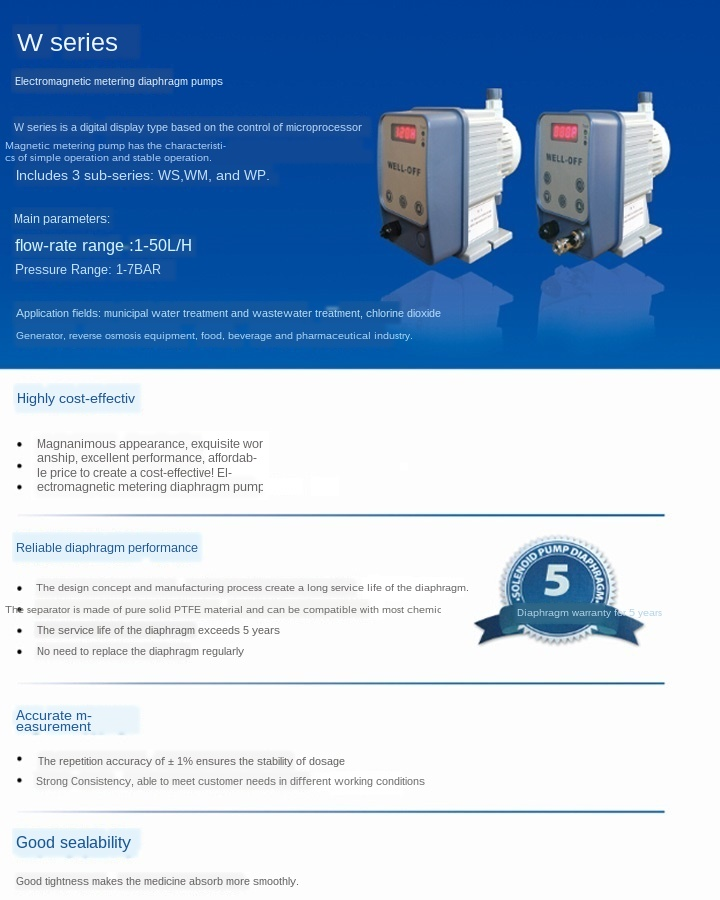 110V, 3.12L//h NEWTRY Electromagnetic Diaphragm Metering Pump Dosing Equipment Resistance to Acid and Alkali Corrosion for Sewage Treatment