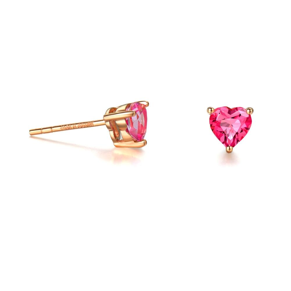 Jade Angel 18K Rose Gold Ruby Heart Shape Stud Earrings Women Jewelry